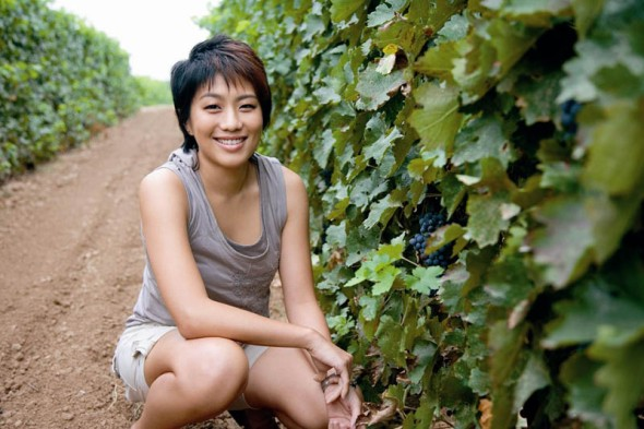 Judy Leissner, Grace Vineyard CEO since 2002 in the company's vineyard in Shanxi.