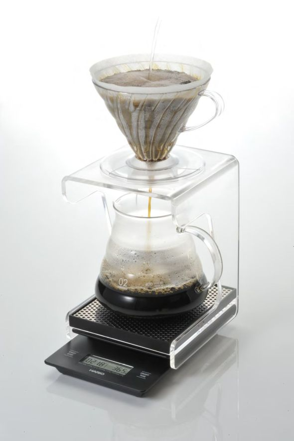 Hario V60 on acrylic stand with digital weight scale