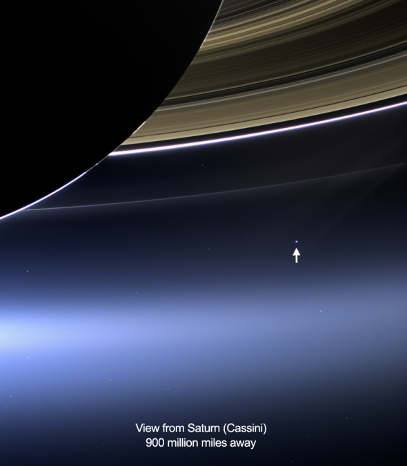 Image taken on July 19, 2013: the wide-angle camera on NASA's Cassini spacecraft has captured Saturn's rings and our planet Earth and its moon in the same frame.
