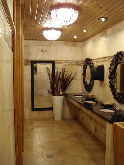 The washroom at Valleyview Shell Superstation in Valleyview, Alta., one of the five finalists for the 2013 Cintas' Canada's Best Restroom Contest.