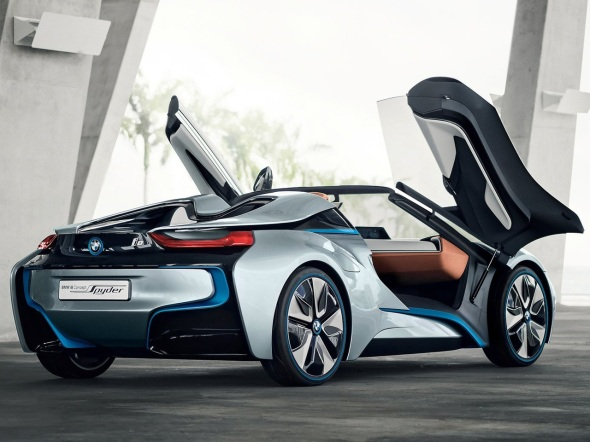 2012-BMW-i8-Spyder-Concept-Rear-Angle-Door-Open