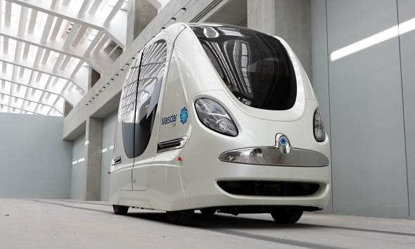 A driverless electric pod car, shown at the Masdar Institute of Science and Technology in Abu Dhabi. Photograph: Bloomberg/Getty Images