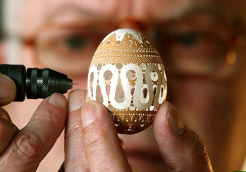 Franc Grom, an artist from Slovakia, creates one of his intricate egg shell sculptures