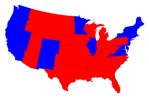 2016 U.S. Presidential Electtion result at a state level