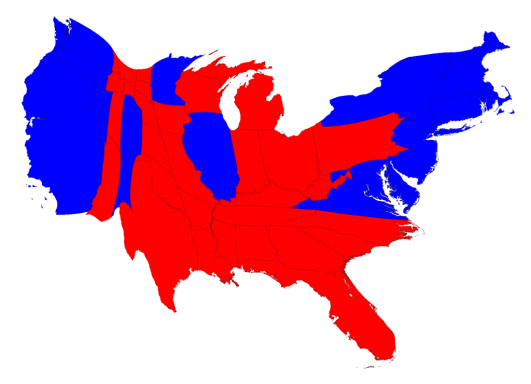 U.S. cartogram for 2016 Election results